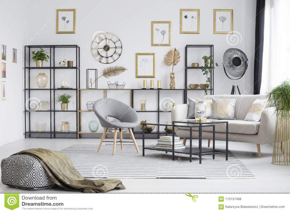 Grey And Gold Living Room Stock Photo. Image Of Apartment in Grey And Gold Living Room