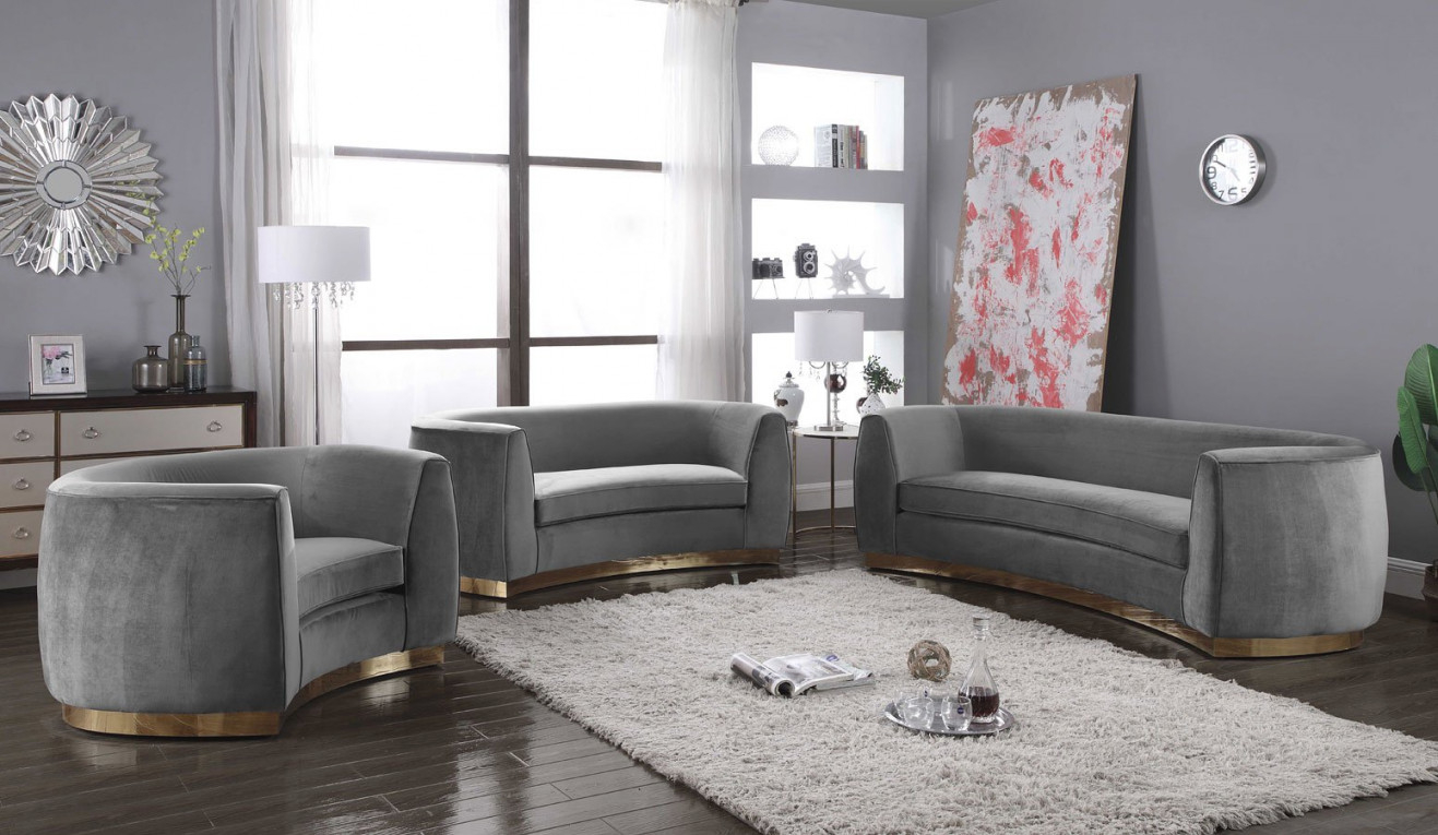 Julian Living Room Set (Grey/ Gold)Meridian pertaining to 10+ Ideas Grey And Gold Living Room