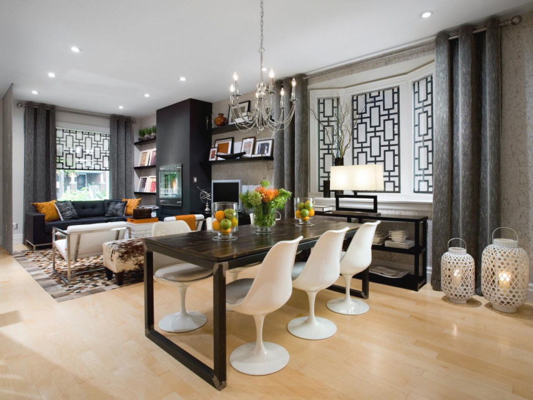 Living Room/Dining Room Makeover: From Gutted To Gorgeous   Hgtv with Living And Dining Room Ideas