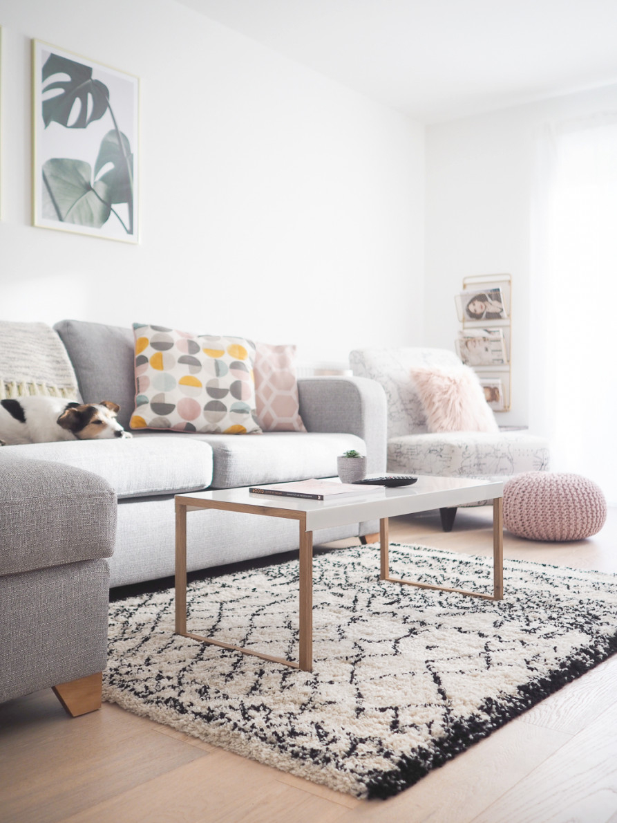 Living Room Tour | Pink, Grey & Gold Decor – Bang On Style in Grey And Gold Living Room
