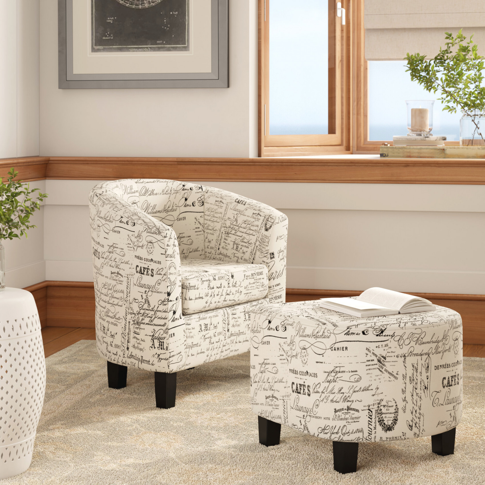 Louisiana Barrel Chair And Ottoman for Sitting Chairs For Living Room