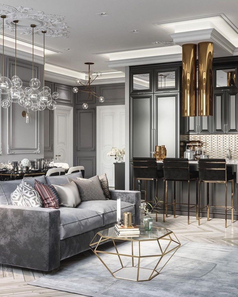 Luxury All Grey And Gold Monochromatic Living Room Decor regarding Grey And Gold Living Room