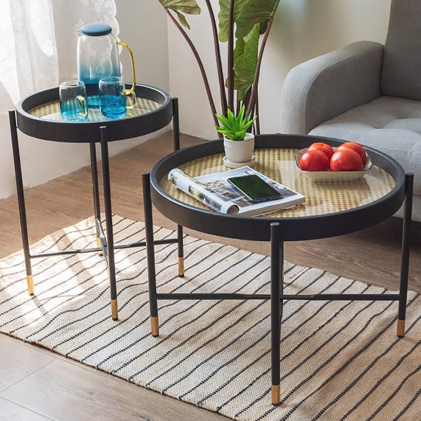 Modern End Table Metal Side Table Waterproof Small Coffee Table Sofa Side Table With Removable Tray regarding Small End Tables Living Room