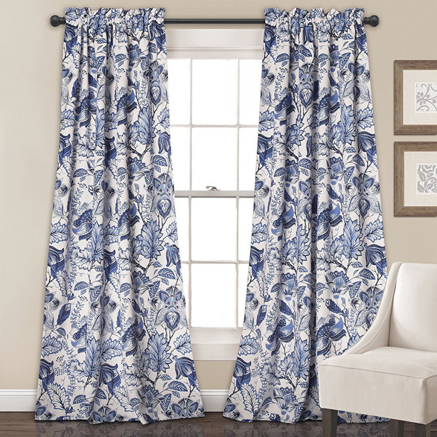 Navy White Blue Floral Botanical Country Living Room Curtains Drapes #Hdcn1806141504488 within Living Room Curtains And Drapes
