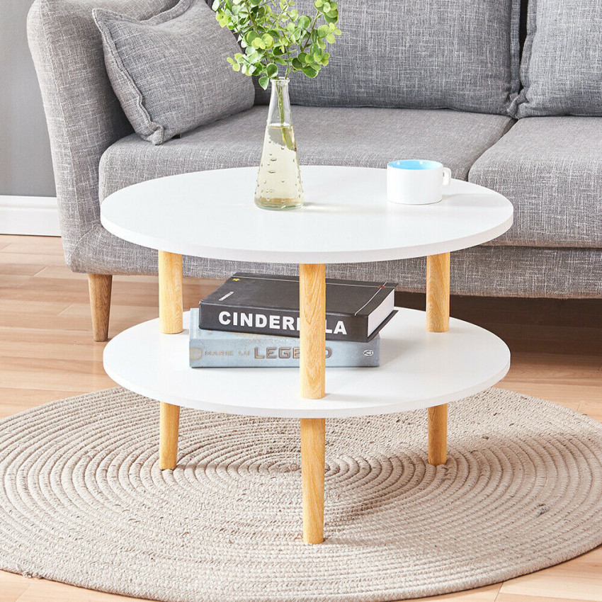 Round Side End Table Tea Coffee Table Wood Living Room Home Furniture White New in Small End Tables Living Room