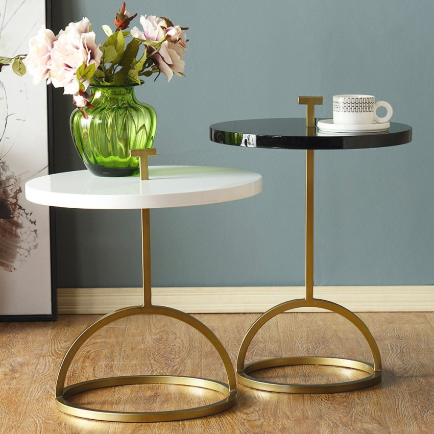 Round White/Black Small End Table In Gold Metal Portable for 9+ Awesome Inspiration For Small End Tables Living Room