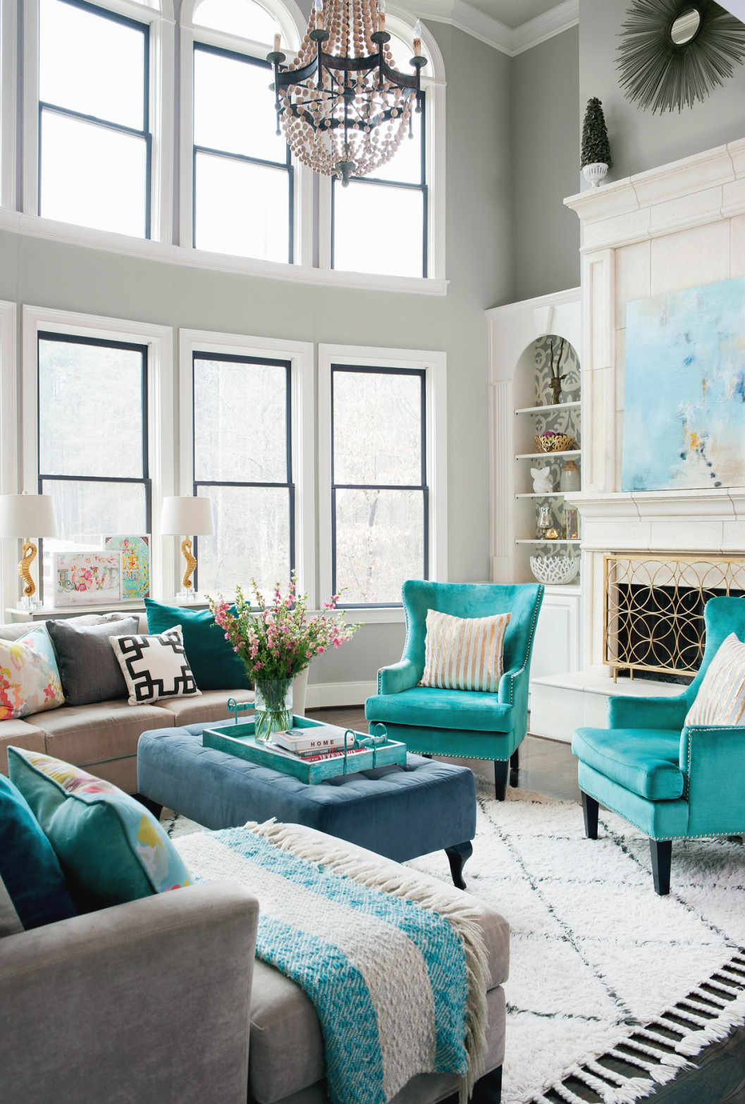 33 Living Room Color Schemes For A Cozy, Livable Space intended for Beautiful Gallery Gray And Teal Living Room