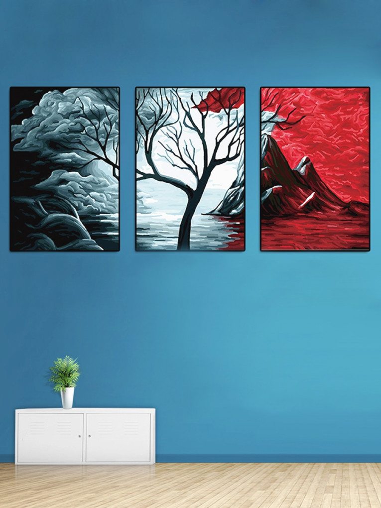 3Pcs Wall Paintings Set Creative Art Painting Living Room Decor within 10+ Inspiration For Wall Paintings For Living Room