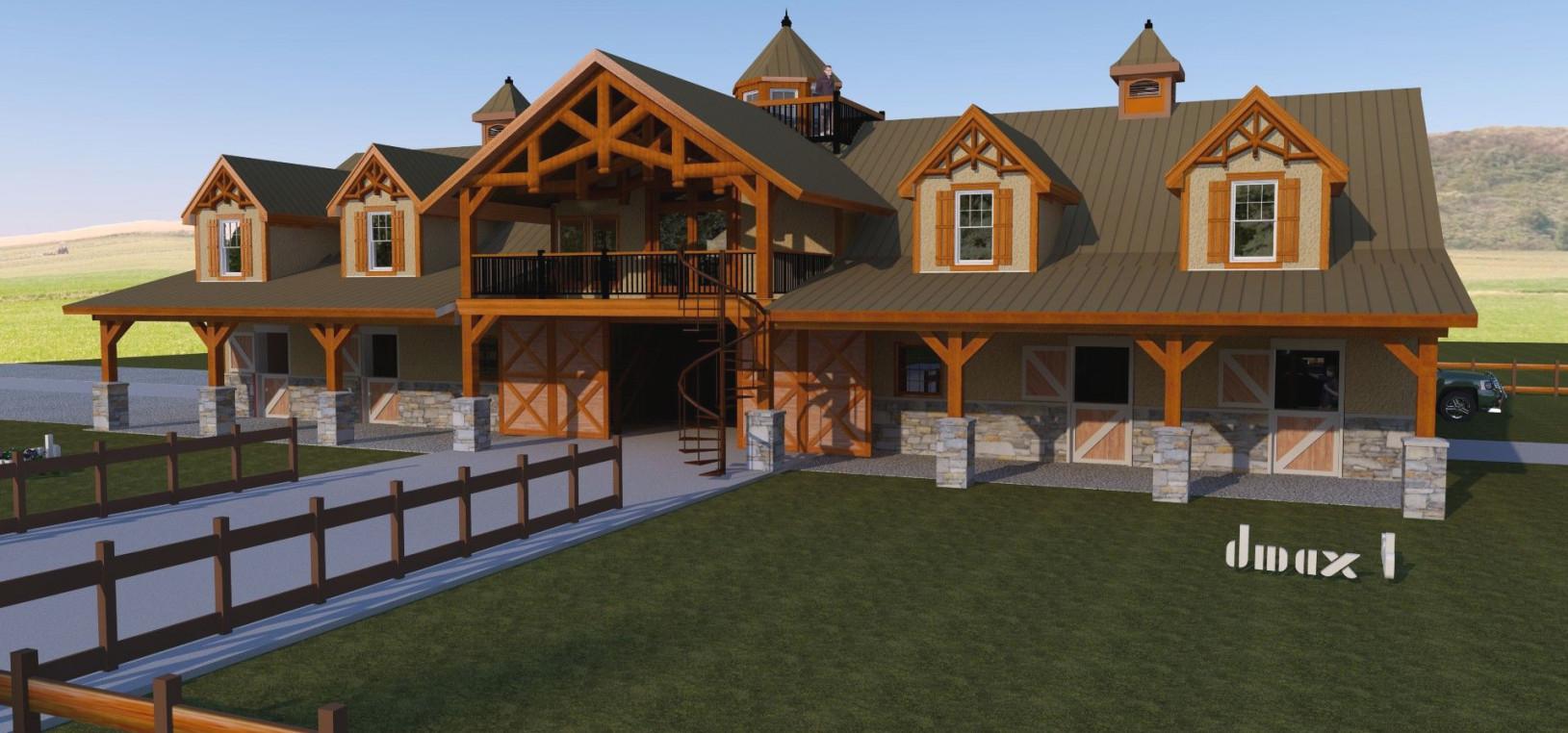 6 Stall, Tack, Wash, 3 Bedroom Horse Barn W/ Living Quarters with Horse Barns With Living Quarters