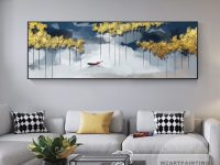 Abstract Gold Tree Navy Blue Boat Landscape Print Painting in Wall Paintings For Living Room