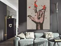 Big Hand Love Hearts Canvas Painting Living Room Bedroom inside Wall Paintings For Living Room