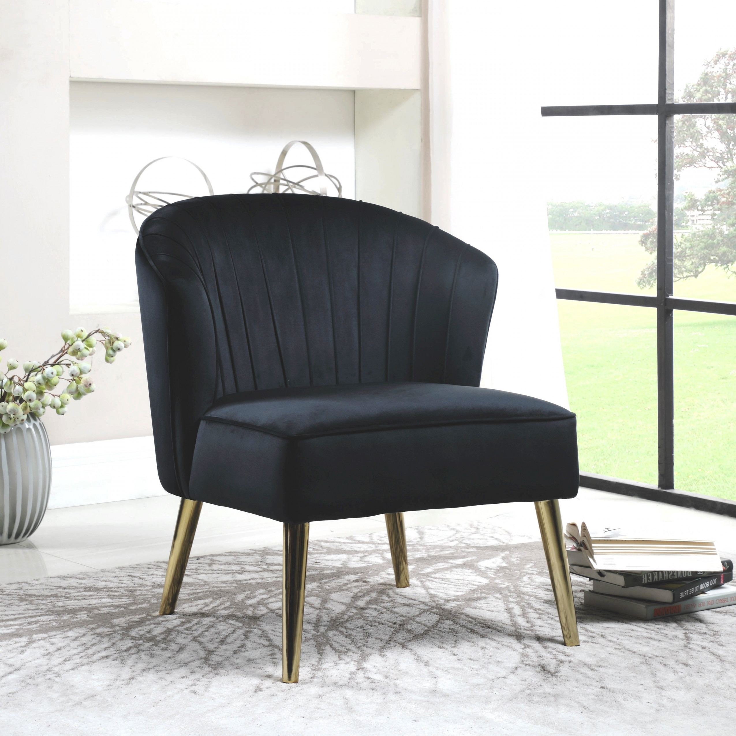 Black Velvet/Brass Mid-Century Modern Living Room Accent Chair with Modern Chairs For Living Room