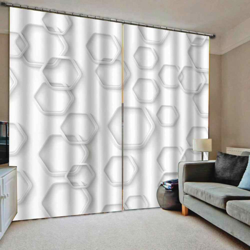 Custom Hexagonal Geometry Window Curtains Large Window Living Room Blackout Drapes Decor throughout Curtains For Large Living Room Windows