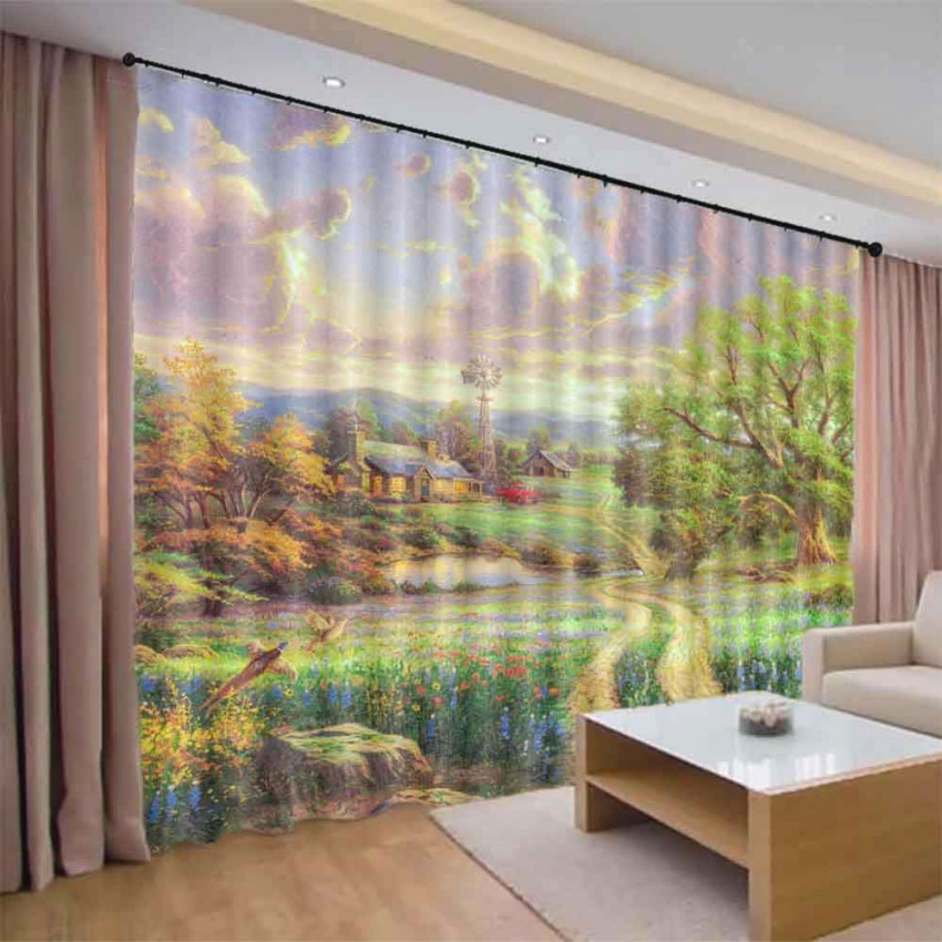 Customize Cortinas Landscape Modern 3D Blackout Window Curtains For Living Room Bedroom Hotel Simple Curtain Design for Curtains For Living Room Window