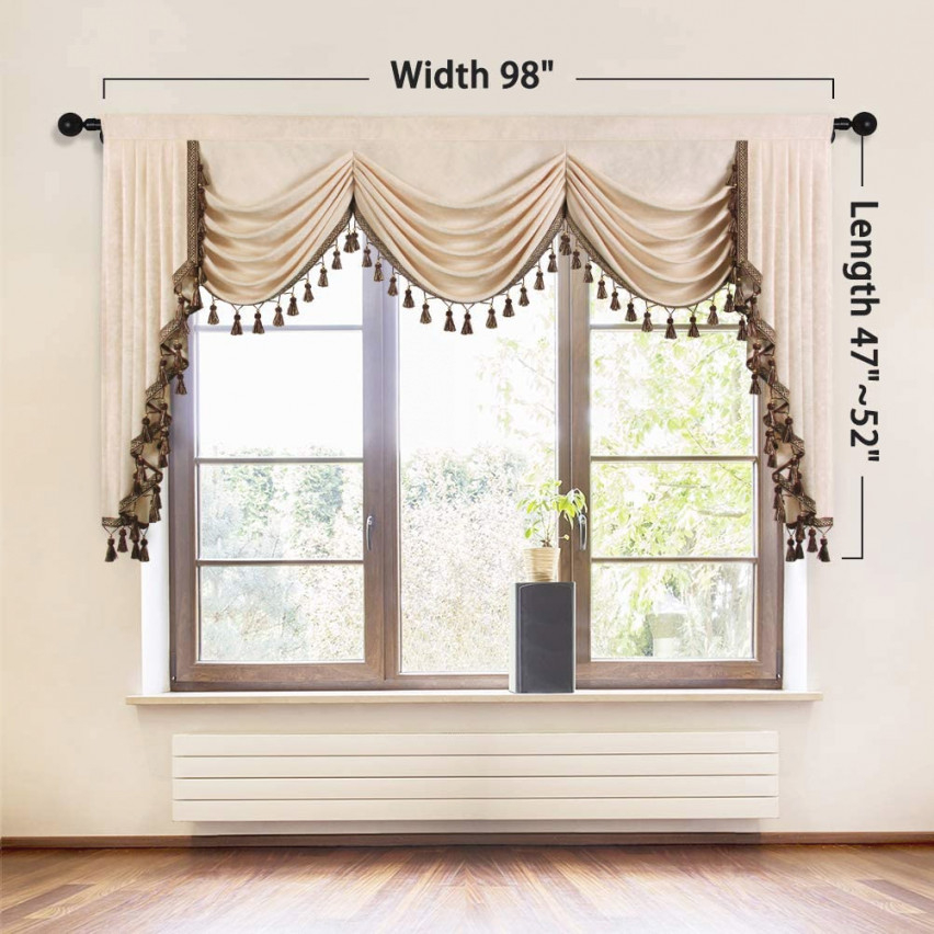 Details About Elkca Luxury Chenille Curtains Valance For Living Room Beige Chenille Waterfall regarding Valance Curtains For Living Room