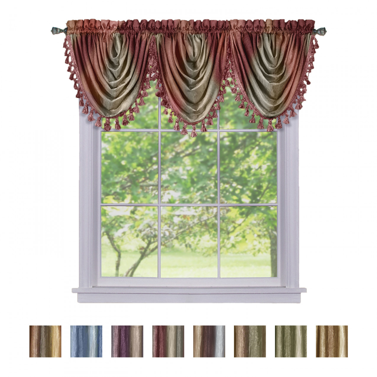 Details About Window Curtains Modern Semi-Sheer Waterfall Valance For Living Room, Bedroom throughout 14+ Inspiration Gallery For Valance Curtains For Living Room
