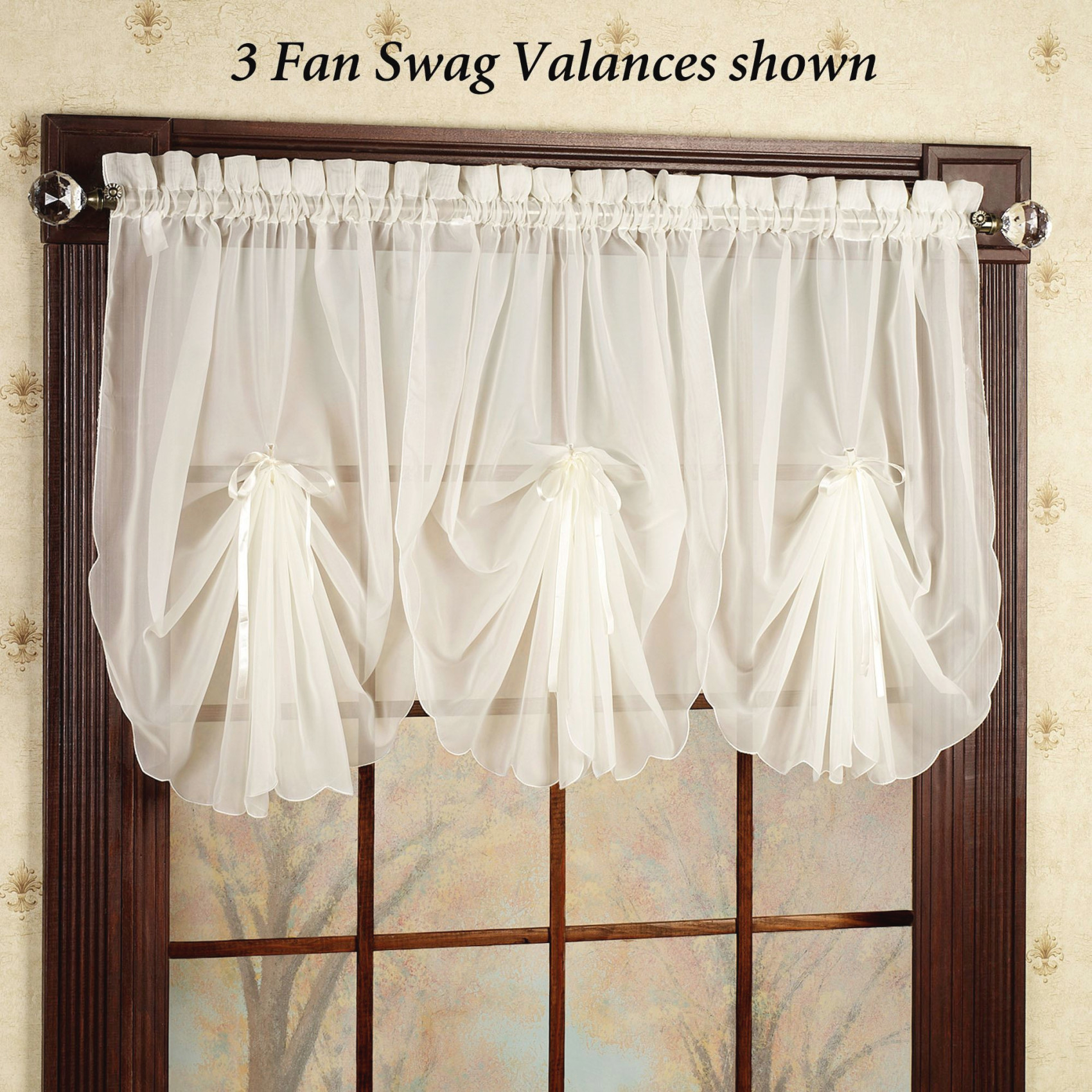 Emelia Sheer Fan Swag Valances pertaining to 14+ Inspiration Gallery For Valance Curtains For Living Room
