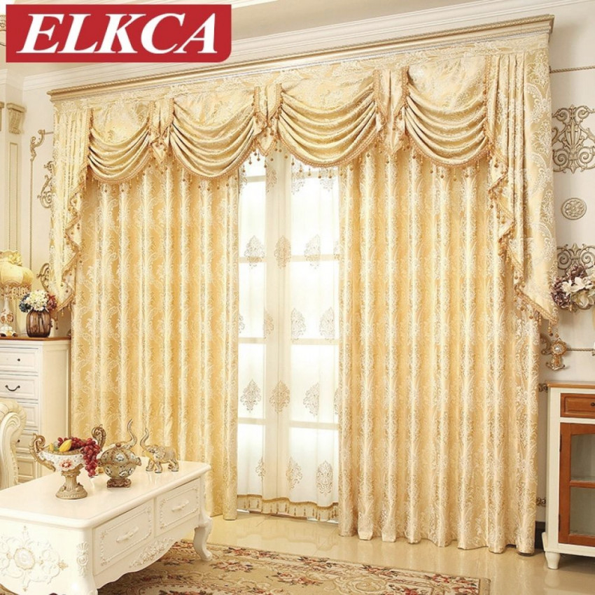 European Golden Royal Luxury Curtains For Bedroom Window throughout Luxury Curtains For Living Room