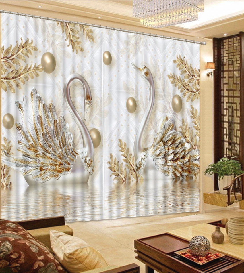 European Luxury Curtains Gold Swan Curtains For Living Room Bedroom Children Room Sheer Curtains 3D Window Drapes for Luxury Curtains For Living Room