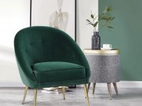 Furniturer Leisure Velvet Dining Chairs Upholstered Accent Leisure Chairs Makeup Dressing Stool Living Room Sofa Chair Modern Green-Contento – The regarding 15 Unique Gallery For Modern Chairs For Living Room