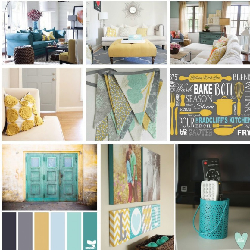 Gray, Teal And Yellow Color Scheme Decor Inspiration with regard to Beautiful Gallery Gray And Teal Living Room