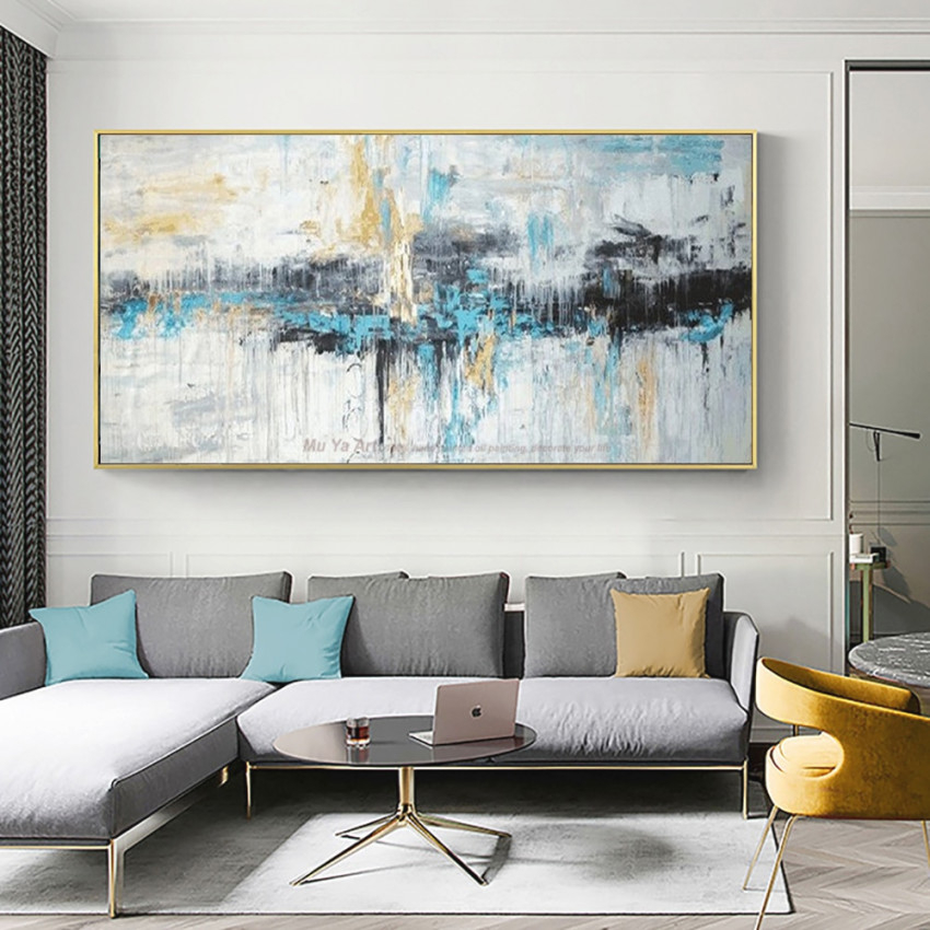 Handmade Modern Abstract Canvas Painting Large Wall Art with Wall Paintings For Living Room