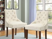 Lowestbest 2Pcs Dining Chairs, Tufted High Back Chairs With Nailed Trim Solid Wood Legs, Leisure Side Chairs For Dining Room/Living Room/Kitchen, throughout High Back Living Room Chairs