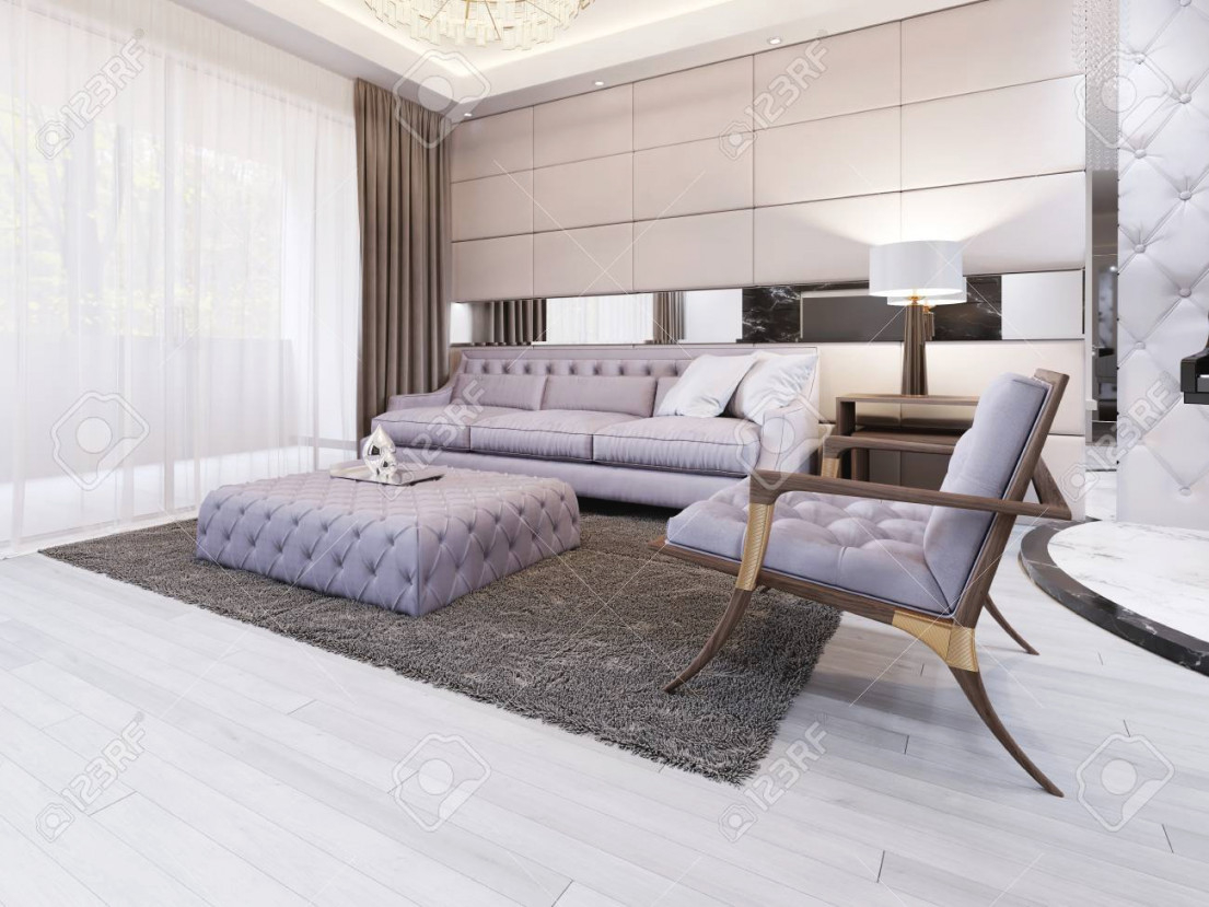 Luxury And Modern Living Room With Quilted Sofa And Chair. 3D.. in Modern Chairs For Living Room