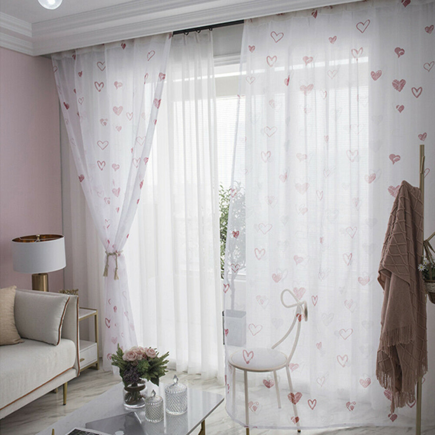 Luxury Printed Window Curtains Tulle Panel Sheer Voile Home Bedroom Living Room within Luxury Curtains For Living Room