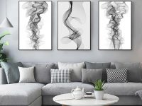 Modern Abstract Black And White Line Canvas Paintings Living Room Decor Poster Entrance Wall Art Pictures Unframed 3 Pieces intended for 10+ Inspiration For Wall Paintings For Living Room
