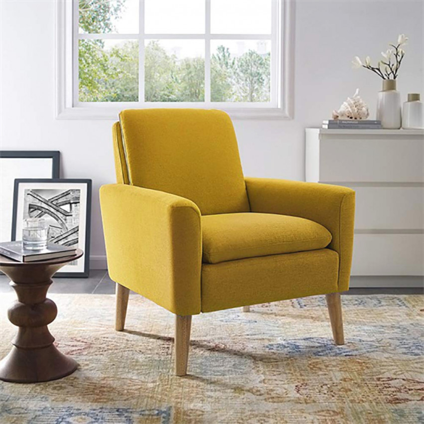 Modern Accent Chair Single Sofa Comfy Fabric Upholstered Arm Chair Living Room Yellow – Walmart with regard to 15 Unique Gallery For Modern Chairs For Living Room