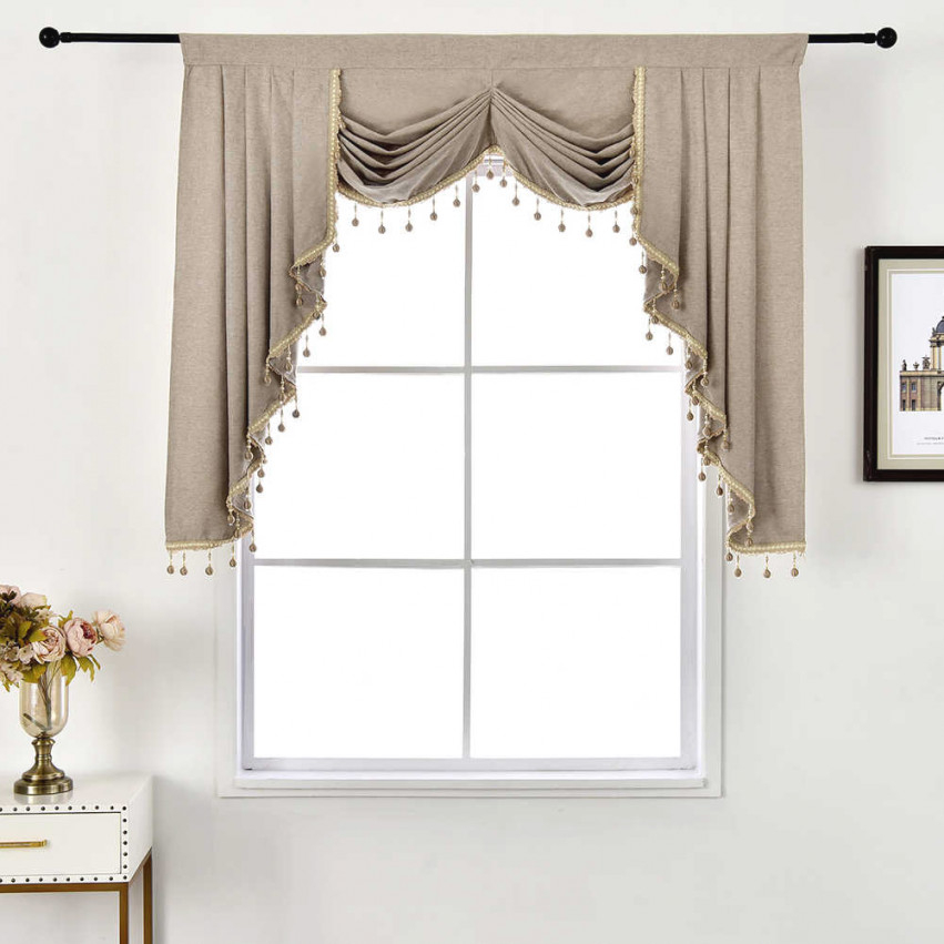 Napearl 1 Piece European Style Beads Valance Rustic Decorative Short Curtain Living Room Windows Thread Modern Drapes All Match for Valance Curtains For Living Room