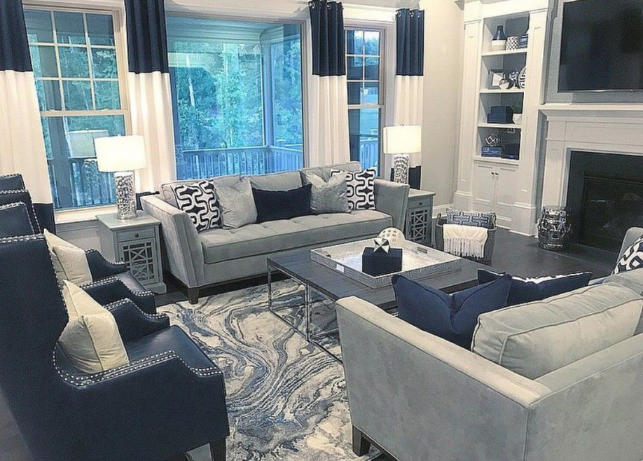 Navy Blue And Gray Decor | Blue Living Room Decor, Blue Grey with Beautiful Gallery Gray And Teal Living Room