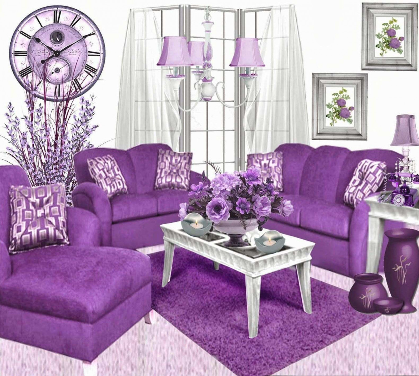 Only Furniture: Purple Living Room Accessories | Home Furniture for 12+ Awesome Gallery For Purple And Grey Living Room Ideas