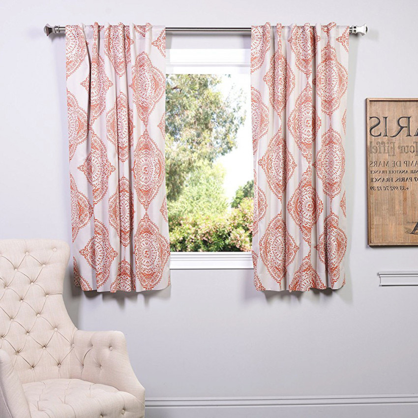 Peach Damask Pink And White Short Bay Window Curtains Living Room Drapes intended for 10+ Awesome Curtains For Living Room Window