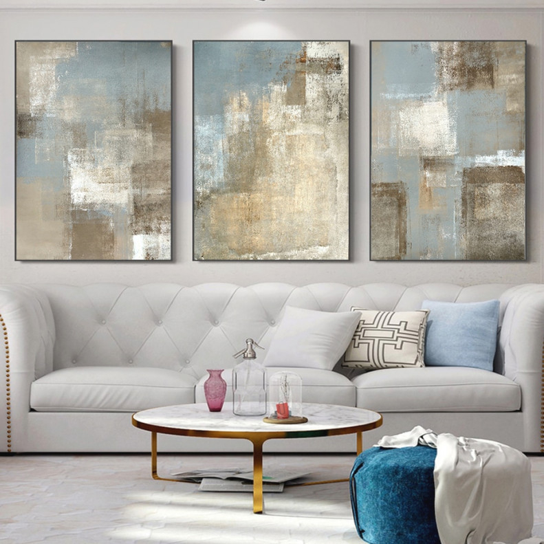 Vintage Gray And Beige Trend Abstract Wall Art Canvas Paintings Pictures Posters Prints For Living Room Home Decoration throughout Wall Paintings For Living Room