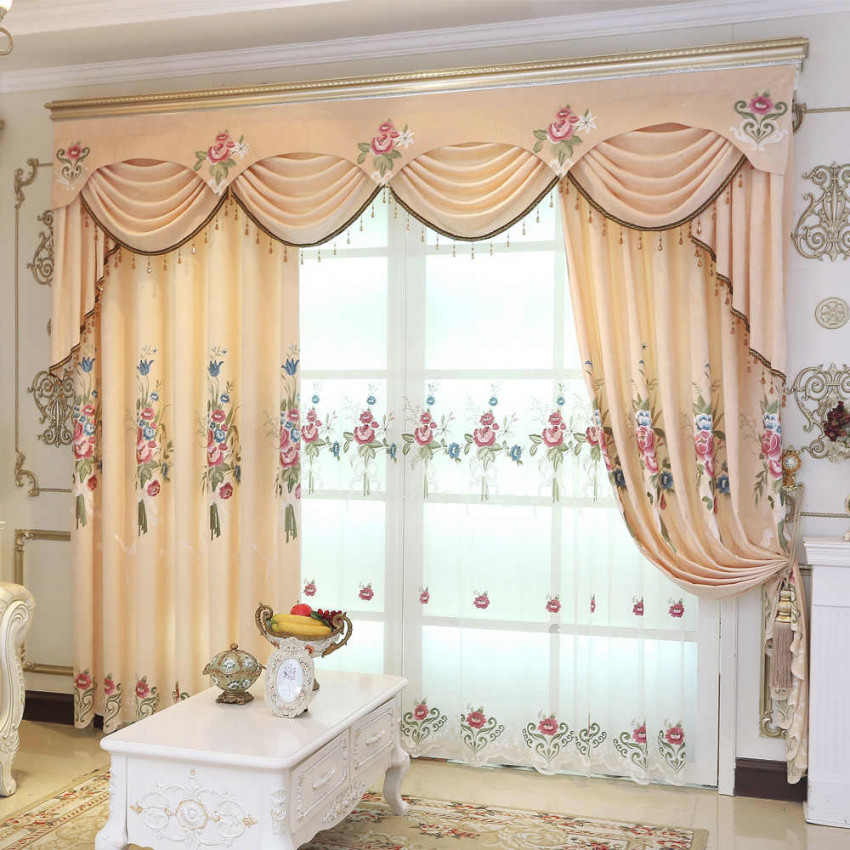 Yellow Peony High Quality Embroidered Blackout Curtains Window For Living Room Bedroom Kitchen Tulle Curtains Valance Drapes with regard to Valance Curtains For Living Room