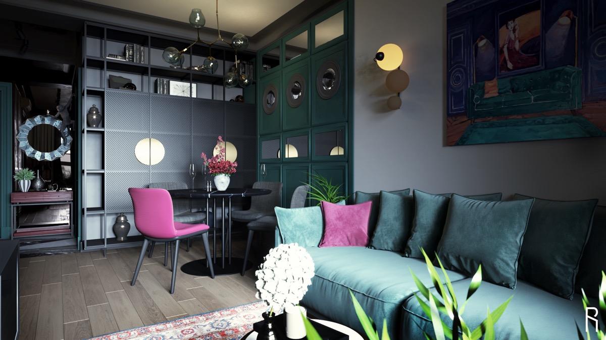 black-and-purple-dining-room