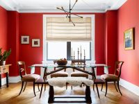 bright-red-dining-room