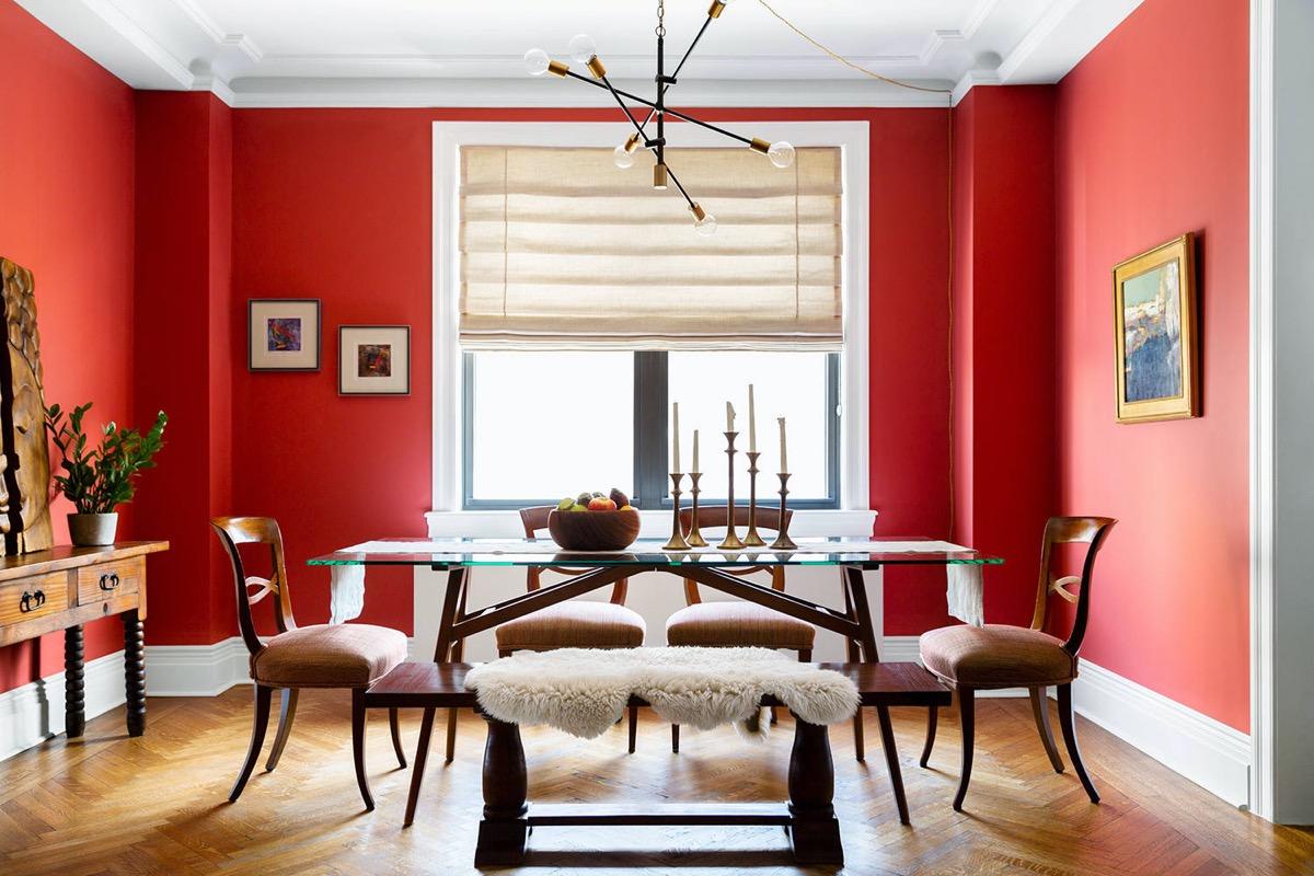 bright-red-dining-room