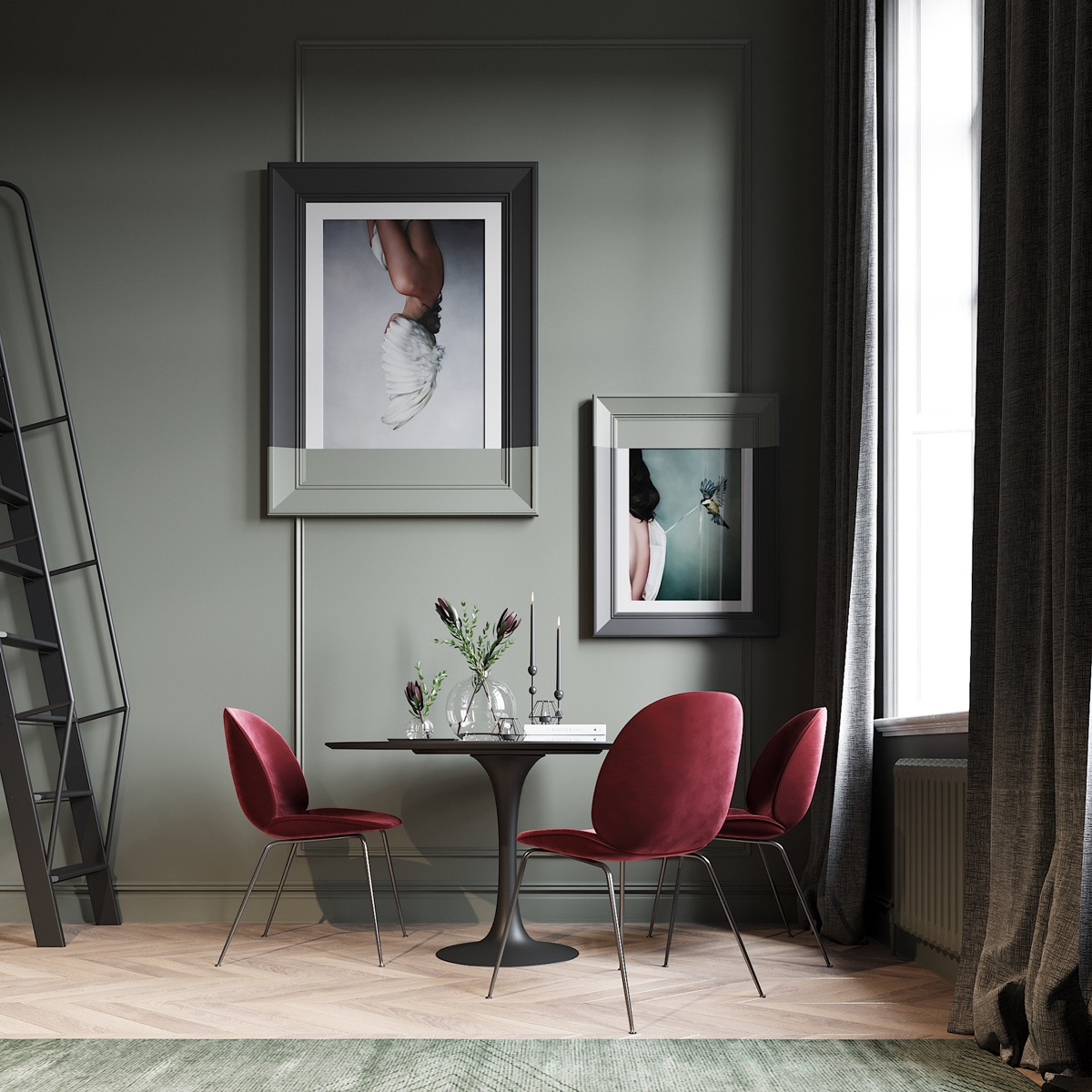 red-and-green-dining-room