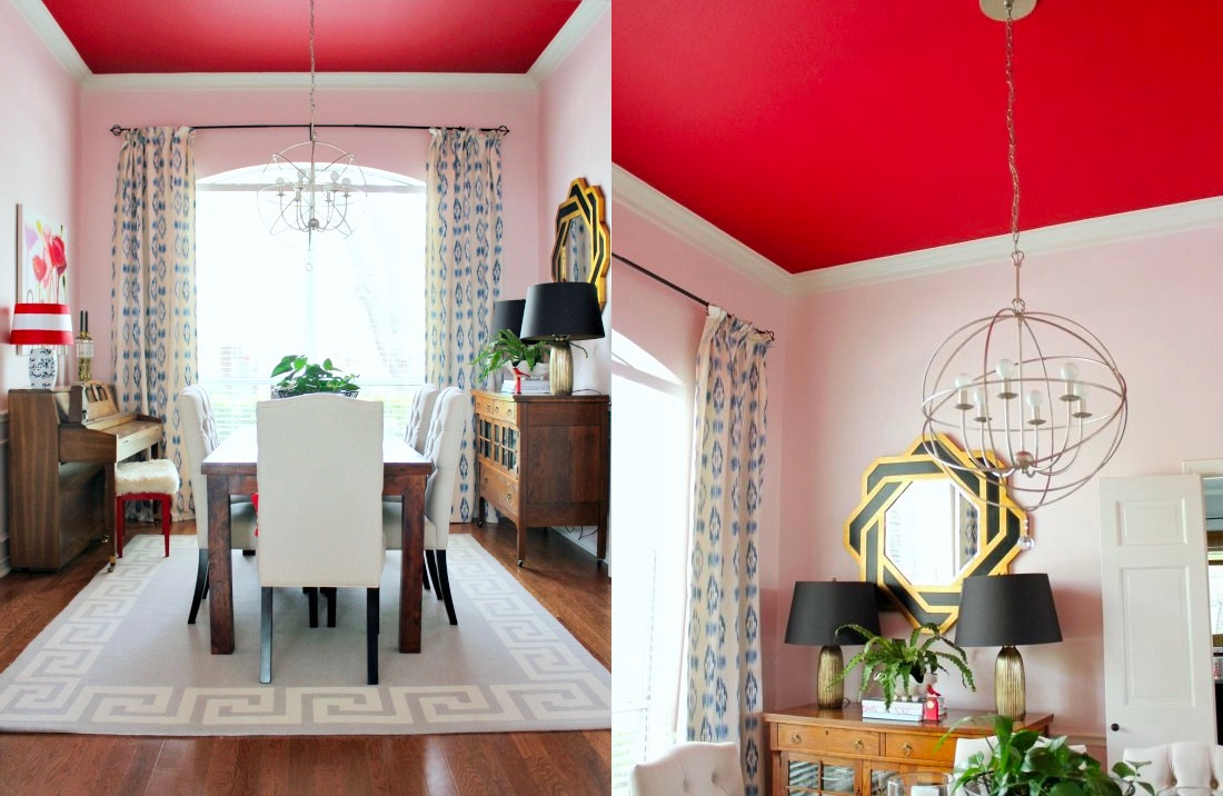 red-ceiling-dining-room