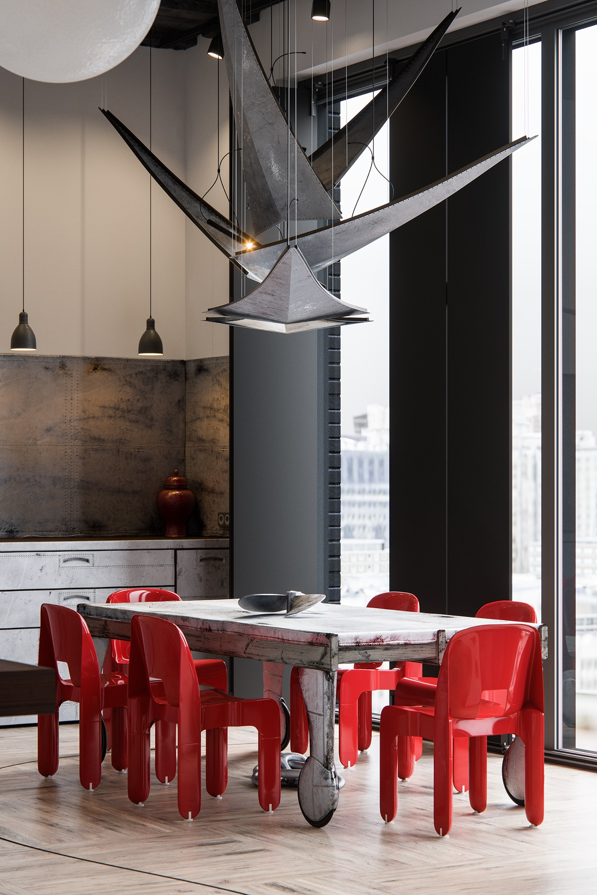 unique-dining-table-with-red-chairs