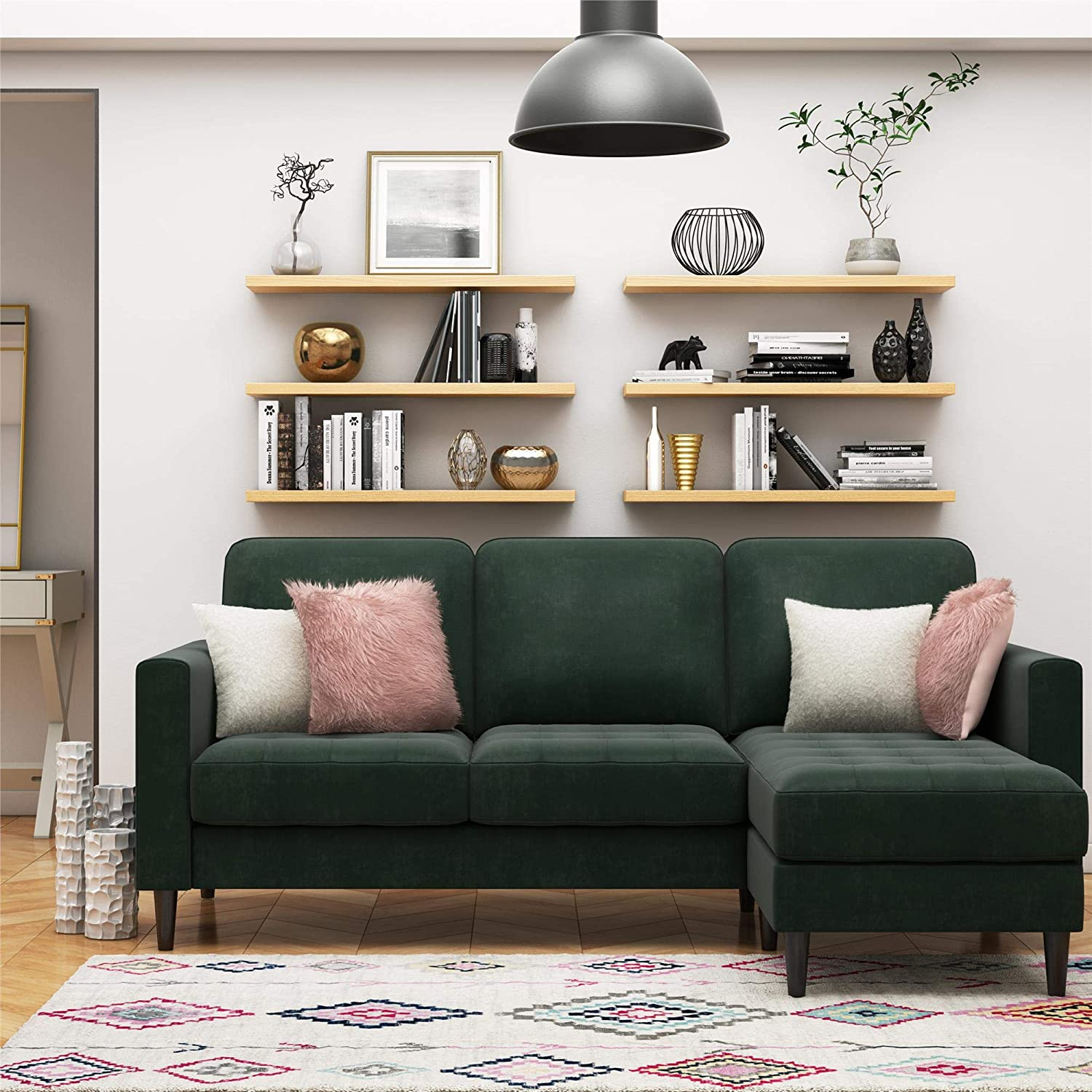 81-inch-small-sectional-sofa-with-dark-forest-green-velvet-upholstery-tufted-seats-removable-cushions-couch-with-floating-ottoman