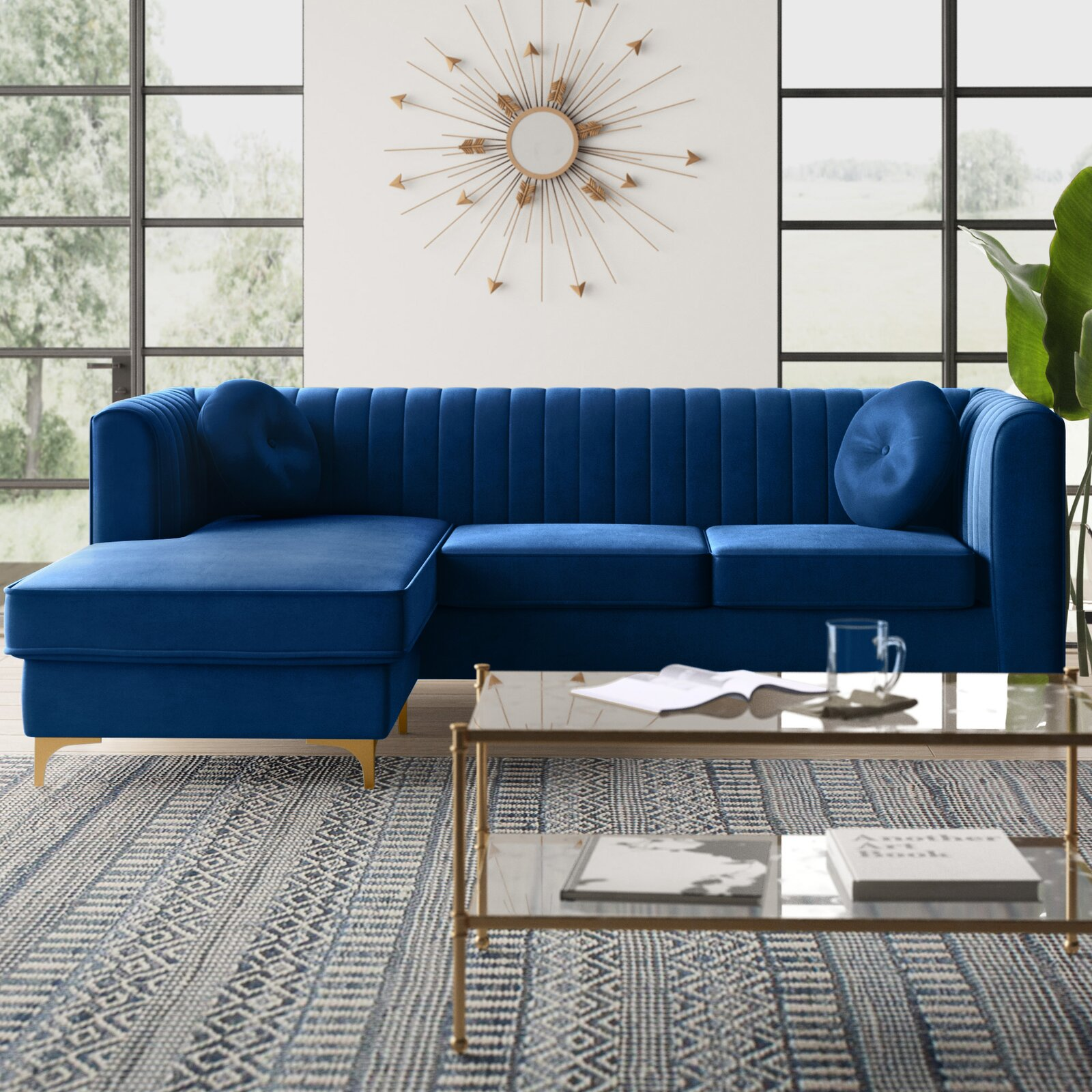 88-inch-small-sectional-sofa-with-chaise-deep-blue-velvet-upholstery-channel-tufted-tuxedo-couch-with-round-accent-pillows