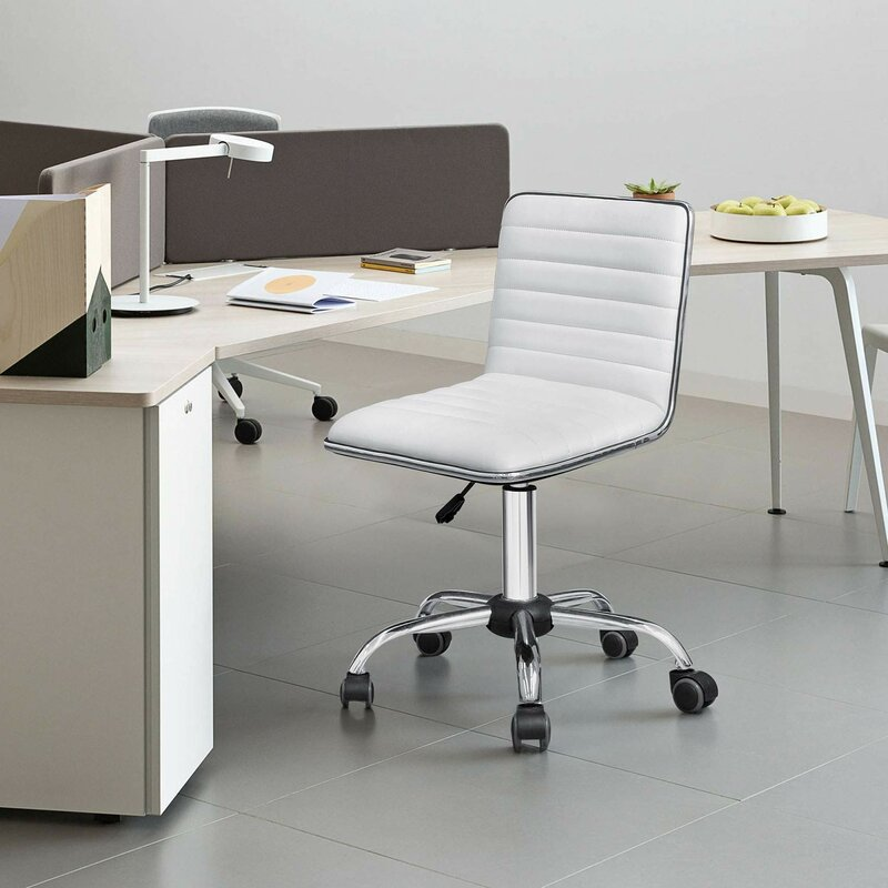 Cheap-Minimalist-White-Armless-Leather-Office-Chair