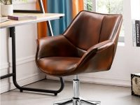 Elegant-Brown-Bucket-Leather-Office-Chair