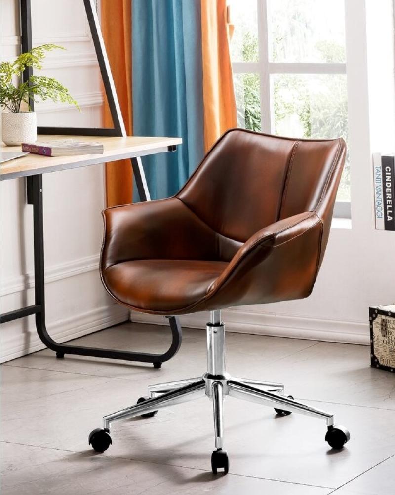 Elegant-Brown-Bucket-Leather-Office-Chair