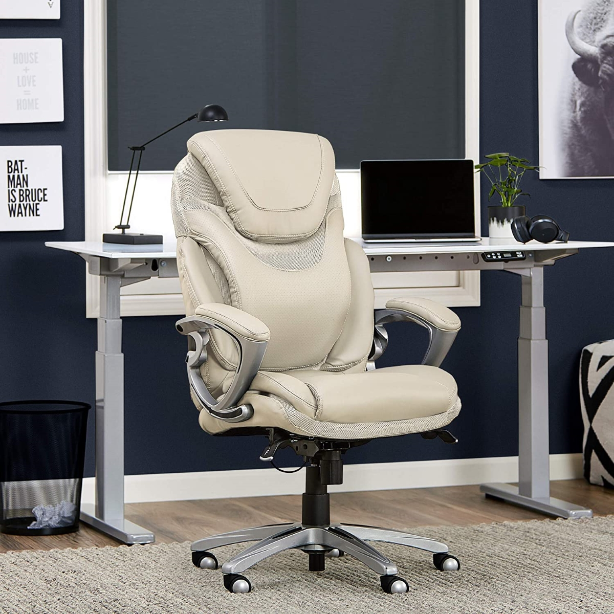 Grey-Serta-Air-Lumbar-Bonded-Leather-Managers-Office-Chair