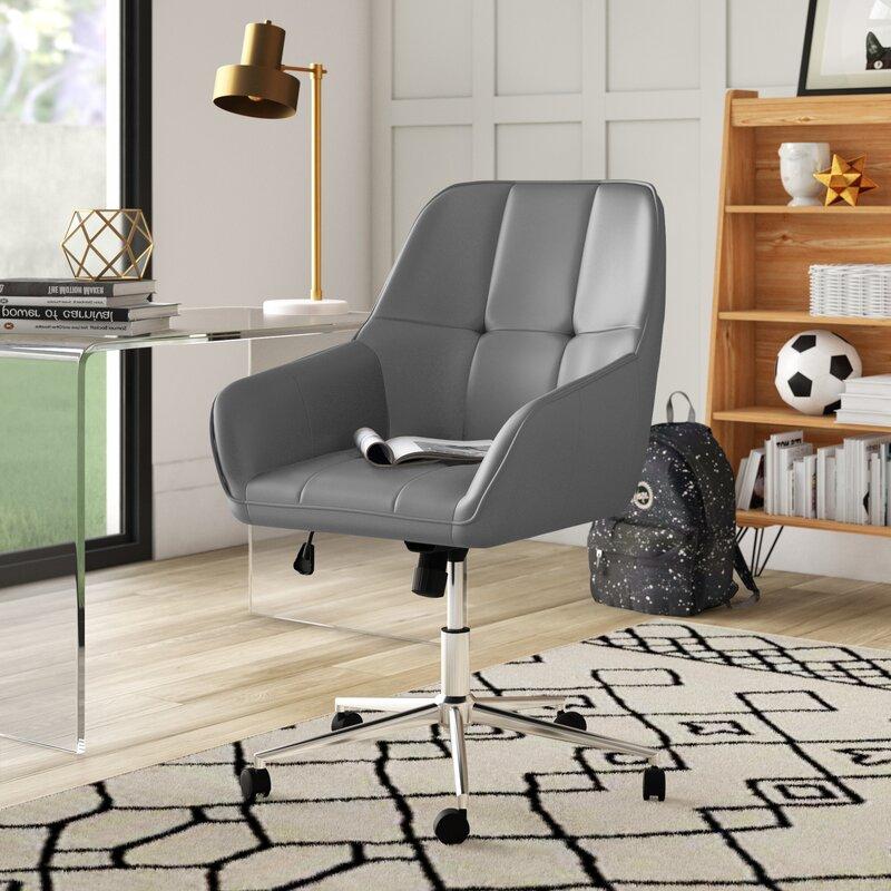 Minimalist-Grey-Leather-Office-Chair